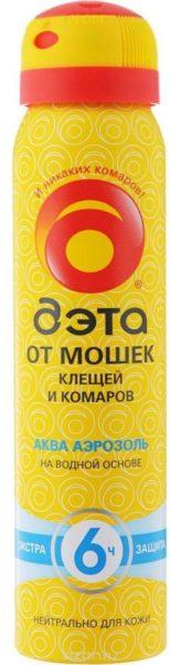 Аэрозоль ДЭТА Aqua от мошек, клещей и комаров, 100 мл, желтый