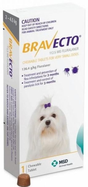 Бравекто (MSD Animal Health от 2 до 4,5 кг