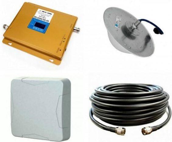 Комплект Усиления сотового сигнала (Репитер) 3G GSM 900Мгц GSM LTE 1800МГц 3G GSM 2100МГц (до 300м²)