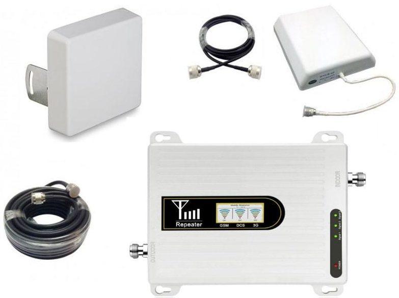 Комплект репитер GSM DCS 4G усилитель связи Telestone 900 1800 МГц до 300 кв.м с экраном