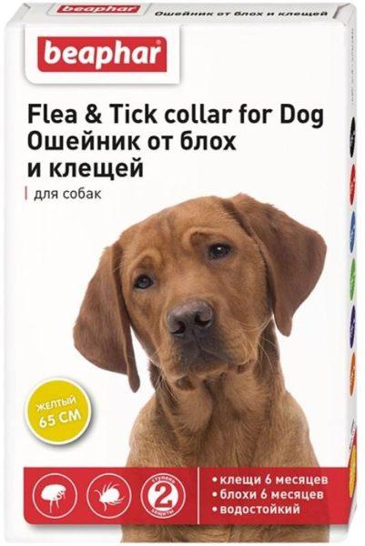 Beaphar Flea & Tick для собак, 65 см, желтый